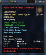 Spear of the Crazed Construct