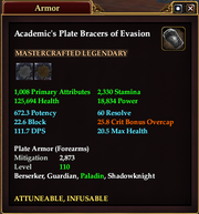 Academic's Plate Bracers of Evasion