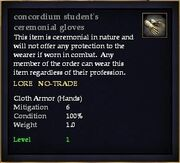 Concordium student's ceremonial gloves