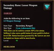 Secondary Rune Lesser Weapon Damage