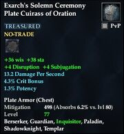 Exarch's Solemn Ceremony Plate Cuirass of Oration