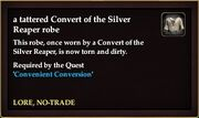 A tattered Convert of the Silver Reaper robe