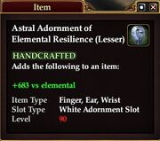 Astral Adornment of Elemental Resilience (Lesser)