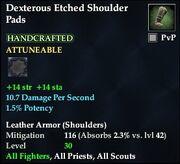 Dexterous Etched Shoulder Pads