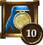 Achievement Icon ribbon blue gold circle 10