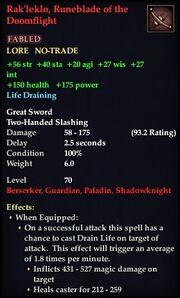 Rak'leklo, Runeblade of the Doomflight