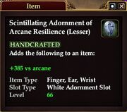 Scintillating Adornment of Arcane Resilience (Lesser)
