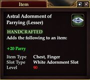 Astral Adornment of Parrying (Lesser)