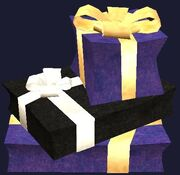 Purple wrapped gift boxes (Visible)