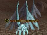A crumbling gargoyle