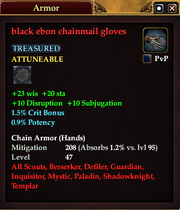 Black ebon chainmail gloves