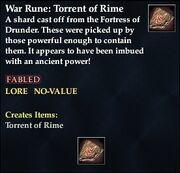 War Rune- Torrent of Rime