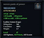 Woven pants of power