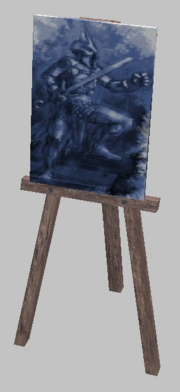 A wooden easel with painting (Visible)