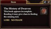 The History of Dwarves (Quest Starter)