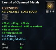 Earstud of Gemmed Metals