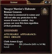 Vessp Warr elab bronze Greaves