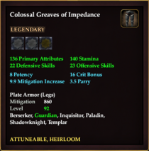 Colossal Greaves of Impedance