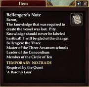 Bellengere's Note