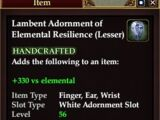 Lambent Adornment of Elemental Resilience (Lesser)
