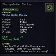 Windup Golden Monkey