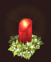 A red holiday candle (Visible)