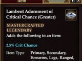 Lambent Adornment of Critical Chance (Greater)