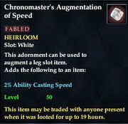 Chronomaster's Augmentation of Speed