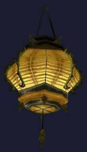 Swaying yellow paper lantern (Visible)