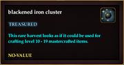 Blackened iron cluster