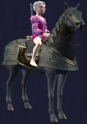 Black-saddled Rujarkian Destrier horse (Visible)
