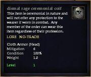 Dismal rage ceremonial coif