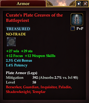 Curate's Plate Greaves of the Battlepriest