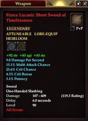 Fierce Lucanic Short Sword of Timelessness