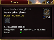 Male tradesman gloves