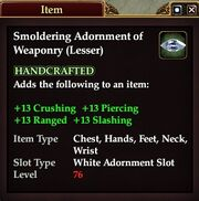 Smoldering Adornment of Weaponry (Lesser)