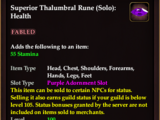 Superior Thalumbral Rune (Solo): Health (Normal)