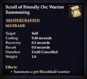 Scroll of Friendly Orc Warrior Summoning