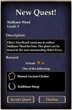 Malkaen Weed Quest