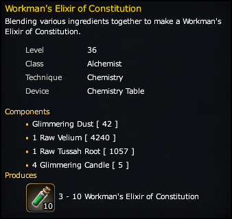 Workman's Elixir of Constitution Recipe
