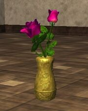 Pink Roses in an Oval Vase (Visible)