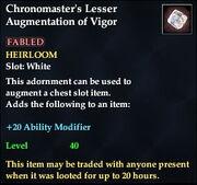 Chronomaster's Lesser Augmentation of Vigor