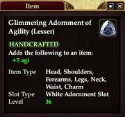Glimmering Adornment of Agility (Lesser)