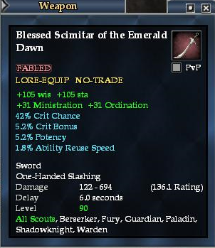 Blessed Scimitar of the Emerald Dawn | EverQuest 2 Wiki