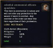 Celestial ceremonial officers spaulders