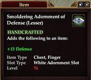 Smoldering Adornment of Defense (Lesser)