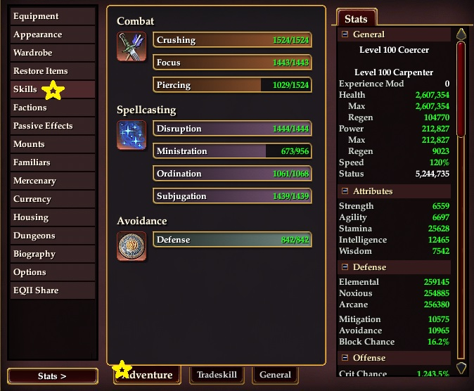 Stats skills listing for mage