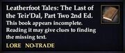 Leatherfoot Tales- The Last of the Teir'Dal, Part Two, 2nd Ed. (Quest Starter)