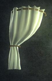 White Velvet Curtain Left Placed