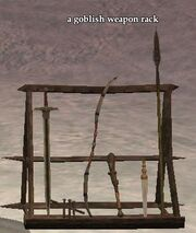 A goblish weapon rack